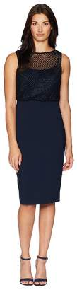 Adrianna Papell Sleeveless Grid Bead Blouson Bodice with Stretch Crepe Skirt Women's Dress