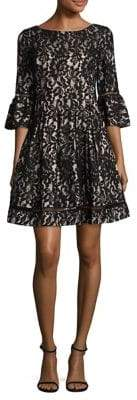 Eliza J Lace Bell-Sleeve Fit-&-Flare Dress