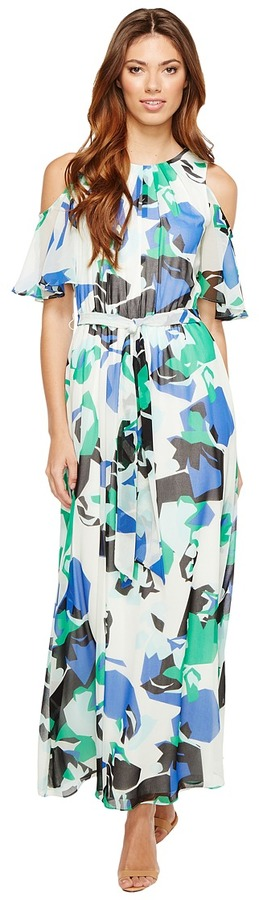 Calvin Klein - Printed Maxi with Flutter Sleeve Women's Clothing