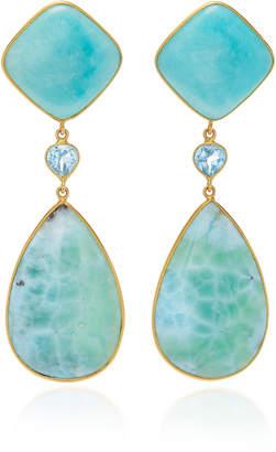 Bahina 18K Gold Amazonite Topaz and Larimar Earrings