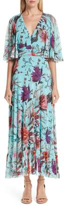 Fuzzi Floral Tulle Ruffle Maxi Dress