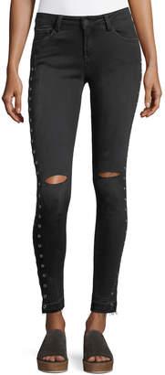 Neiman Marcus Etienne Marcel Kika Mid-Rise Skinny Ankle Jeans w/ Grommets