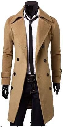 FCYOSO Men's Trench Coat Winter Long Jacket Double Breasted Overcoat US,S