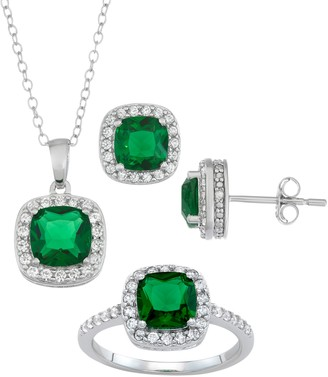 Sterling Silver Simulated Emerald & Lab-Created White Sapphire Ring, Pendant & Earring Set