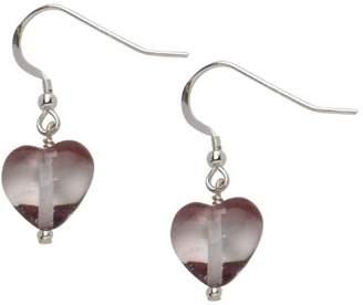Glass Heart Bellissi Murano Venezia Light Amethyst Earrings