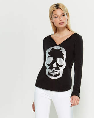 Zadig & Voltaire Metallic Skull Long Sleeve Tee