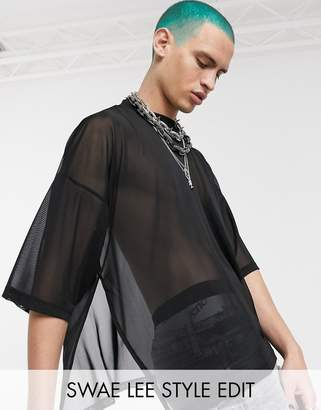 Asos Design DESIGN oversized t-shirt with half sleeve and extreme side splits in fine mesh