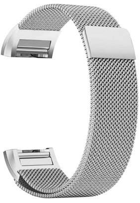 Fitbit iGK Charge 2 Bands Replacement Accessories Milanese Loop Stainless Steel Metal Bracelet Strap with Unique Magnet Lock for Charge 2 (Silver, Large)
