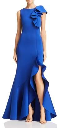 Eliza J Asymmetric Ruffle Scuba Gown
