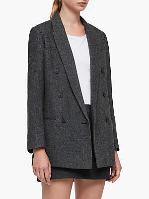 Isla Double Breasted Check Blazer, Charcoal Grey