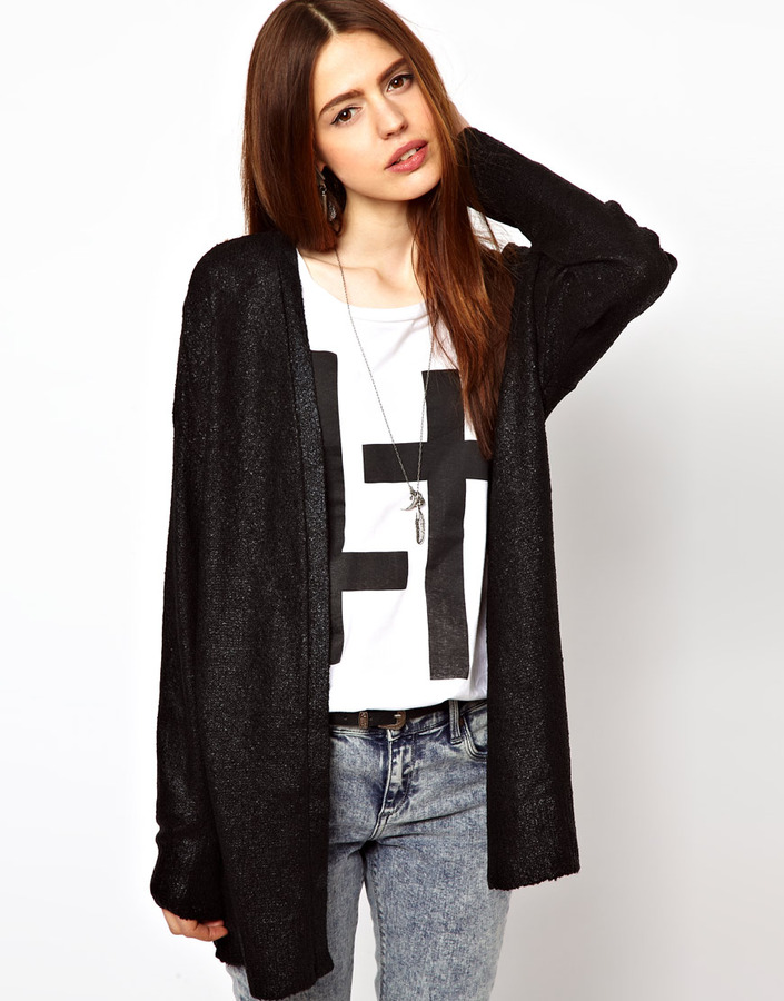 Just Female Longline Coated Cardigan