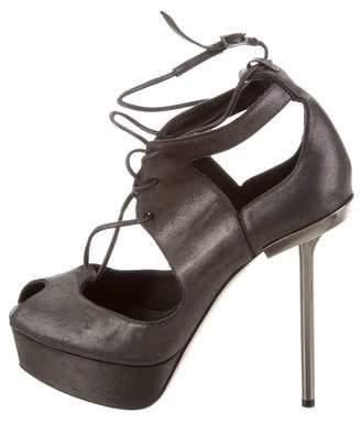 Calvin Klein Collection Leather Platform Booties