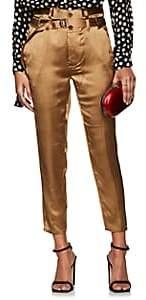 Robert Rodriguez Women's Satin Slim Crop Pants-Brown