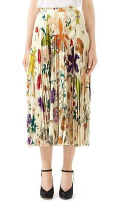 4f02dcdb83a8 Gucci Gothic Floral Print Pleated Silk Twill Midi Skirt