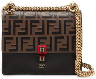 Fendi Small Kan I Logo Embossed Leather Bag
