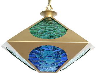 One Kings Lane Vintage Midcentury Glass & Brass Pendant - C the Light Interiors