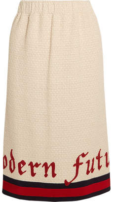 Gucci Embroidered Cotton-blend Bouclé-tweed Midi Skirt - Ivory