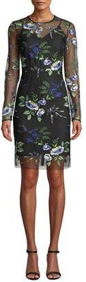 Diane von Furstenberg Floral-Embroidered Mesh Long-Sleeve Cocktail Dress