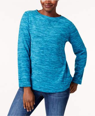 Karen Scott Petite Spacedye Microfleece Crew-Neck Sweatshirt