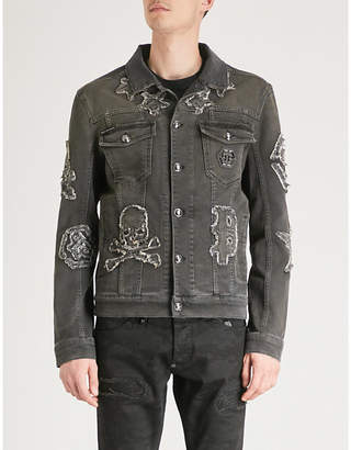 Philipp Plein Appliquéd denim jacket