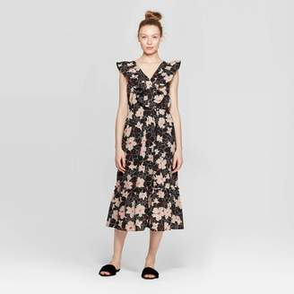 Who What Wear Women's Floral Print Sleeveless Ruffle V-Neck Loose Fit Maxi Dress