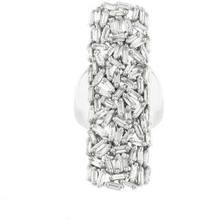 Suzanne Kalan Rectangle Diamond Baguette Ring - White Gold