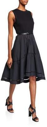Elie Tahari Stephanie Crewneck Sleeveless Belted Fit-and-Flare Dress