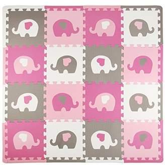 Tadpoles Playmat Set, Elephants, White/Hearts/Pink/Grey