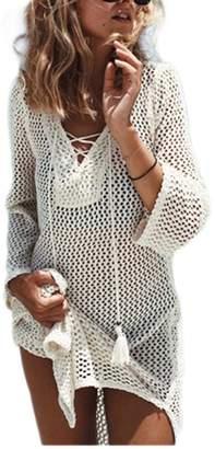 Bsubseach Women Fuchsia V Neck Hollow Out Swimwear Swimsuit Cover Ups Loose Short Crochet Knitted Beach Dresses