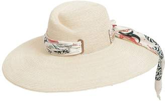 Maison Michel Virginia Straw Hat W/ Silk Scarf