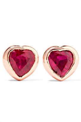 Anita Ko Heart 18-karat Rose Gold Ruby Earrings
