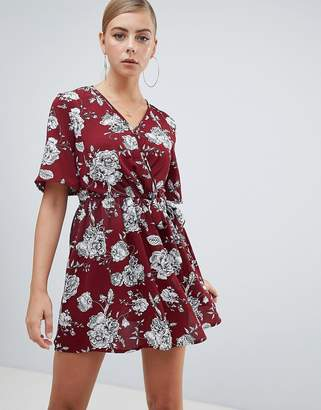 7e723f1369 Missguided skater mini dress in red floral