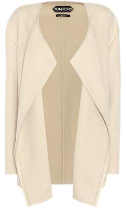 Tom Ford Leather-trimmed cashmere jacket