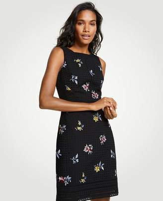 Ann Taylor Tall Embroidered Floral Eyelet Sheath Dress