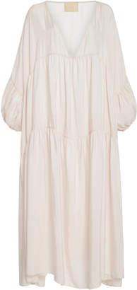 Anaak Airi Pleated Silk-Georgette Midi Dress