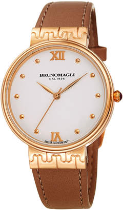 Bruno Magli 36mm Isabella Leather Watch, Brown/Rose