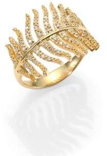Mizuki Wings of Desire Diamond& 14K Yellow Gold Feather Wrap Wing