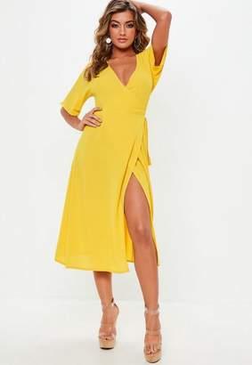 Missguided Yellow Short Sleeve Tie Belt Midi Dress