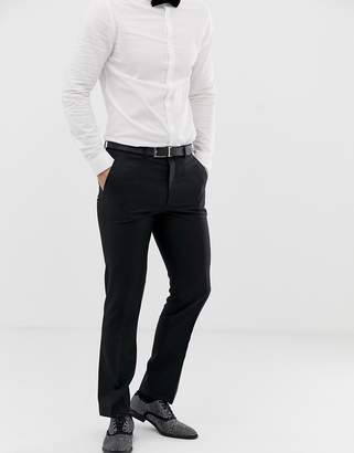 Asos Design DESIGN slim tuxedo suit trousers in black 100% wool