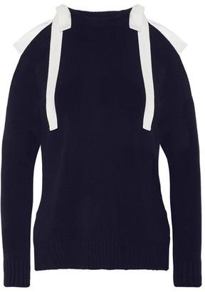 Monse - Cutout Ribbed-knit Cotton Sweater - Midnight blue