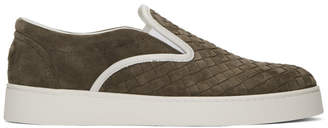 Bottega Veneta Brown Suede Intrecciato Slip-On Sneakers