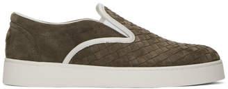 Bottega Veneta Brown Suede Intrecciato Slip-On Sneakers