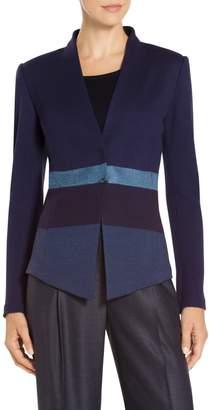 St. John Caribbean Plaid Knit Cut-Away Jacket