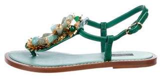 Dolce & Gabbana Floral Lizard Sandals