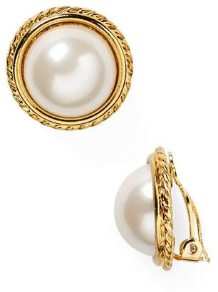 Carolee Rope Imitation-Pearl Clip On Earrings