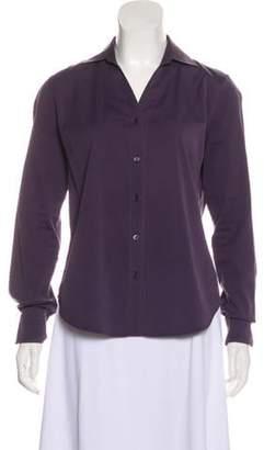 Loro Piana Long Sleeve Button-Up Top Aubergine Long Sleeve Button-Up Top