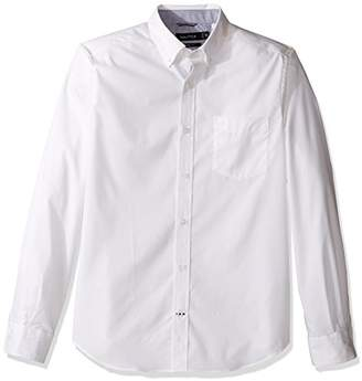 Nautica Men's Wrinkle Resistant Classic Fit Solid Long Sleeve Dress Shirt