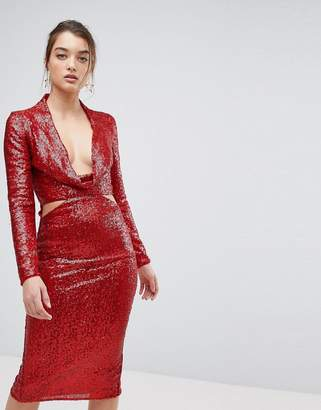 Asos DESIGN Cowl Front Cut Out Sequin Midi Dress