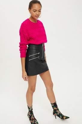 Topshop Highwaisted Zip Front Mini Skirt
