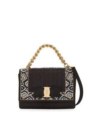 Salvatore Ferragamo Ginny Mini Mosaic Crossbody Bag, Raso Nero $1,250 thestylecure.com